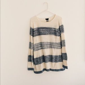 cream and blue sweater